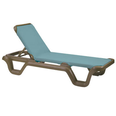 Grosfillex Marina Style Resin Sling Chaise Lounge Chair W