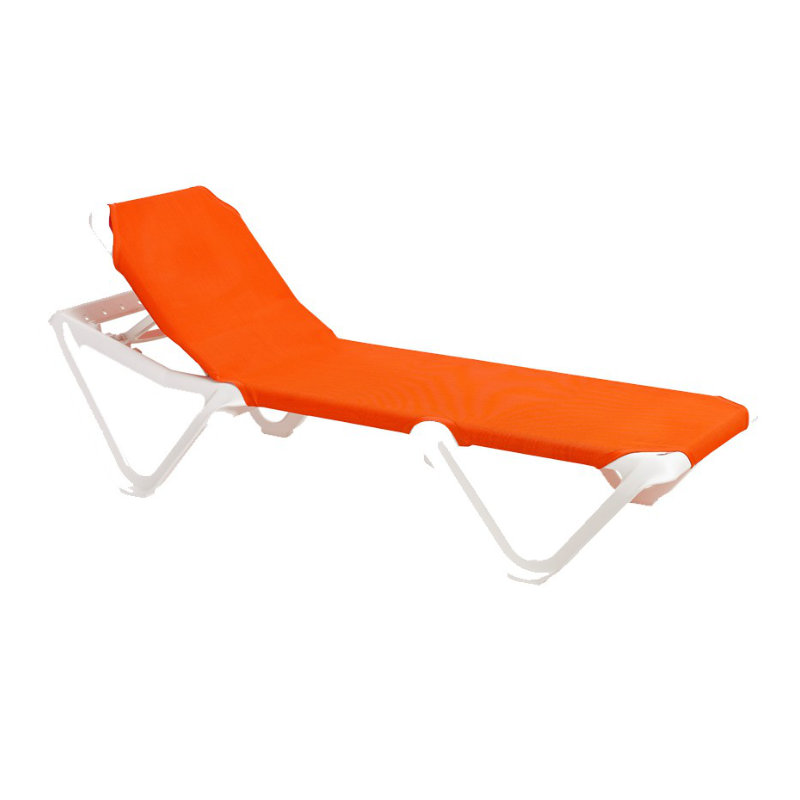 Grosfillex Nautical Adjustable Resin Sling Chaise Lounge Chair w o Arms