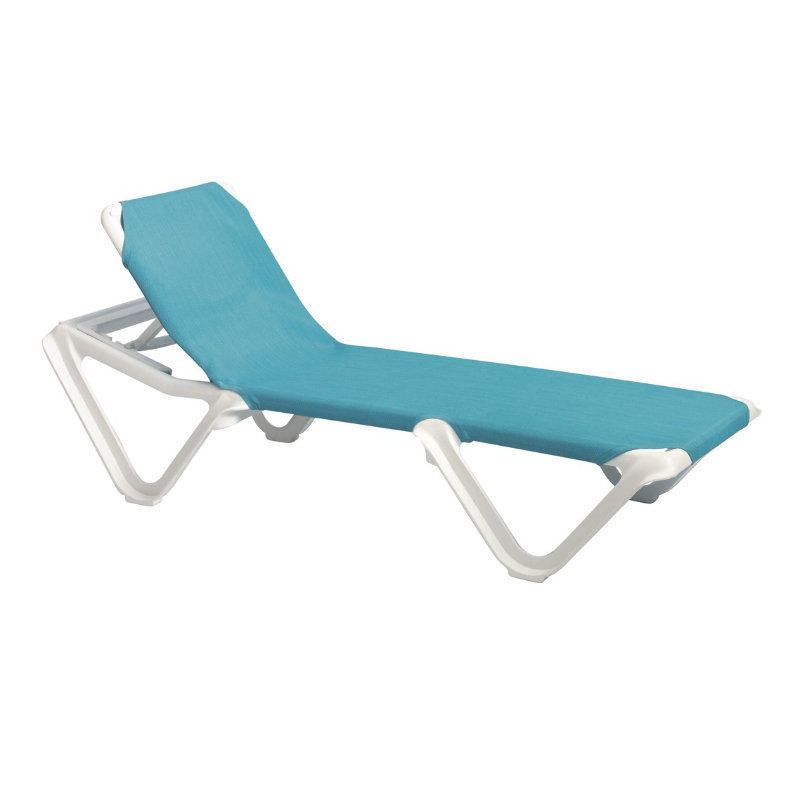 Grosfillex nautical adjustable resin sling chaise lounge chair w o arms et t distributors - Grosfillex chaise longue ...