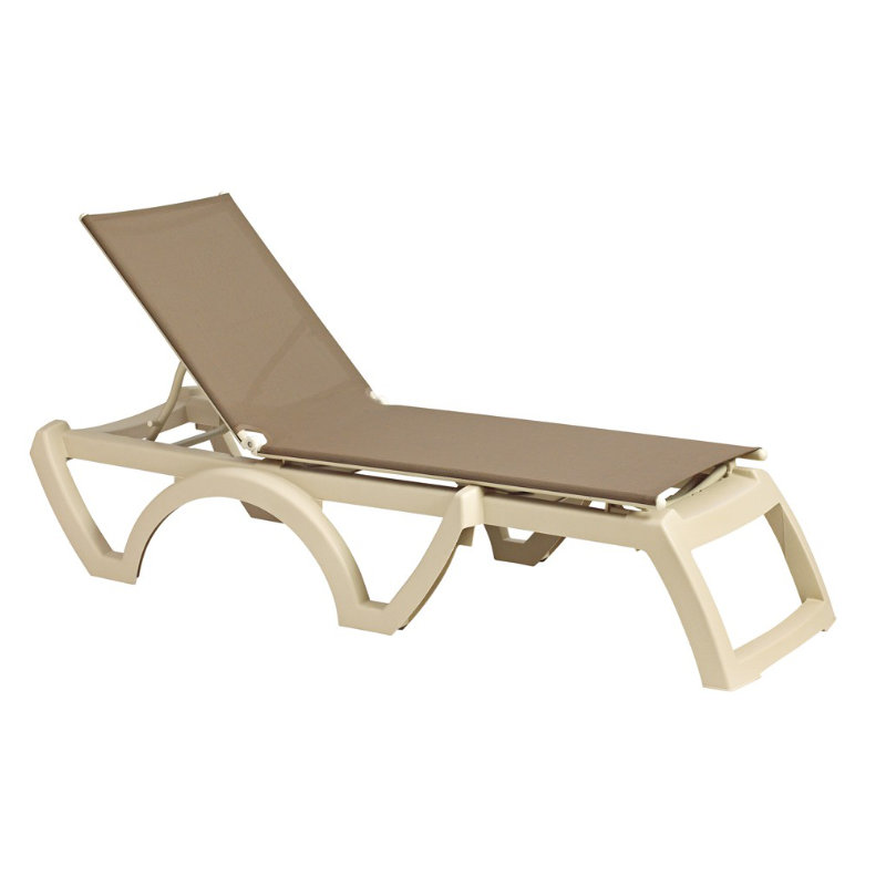 Grosfillex calypso resin adjustable sling chaise lounge for Blue sling chaise lounge