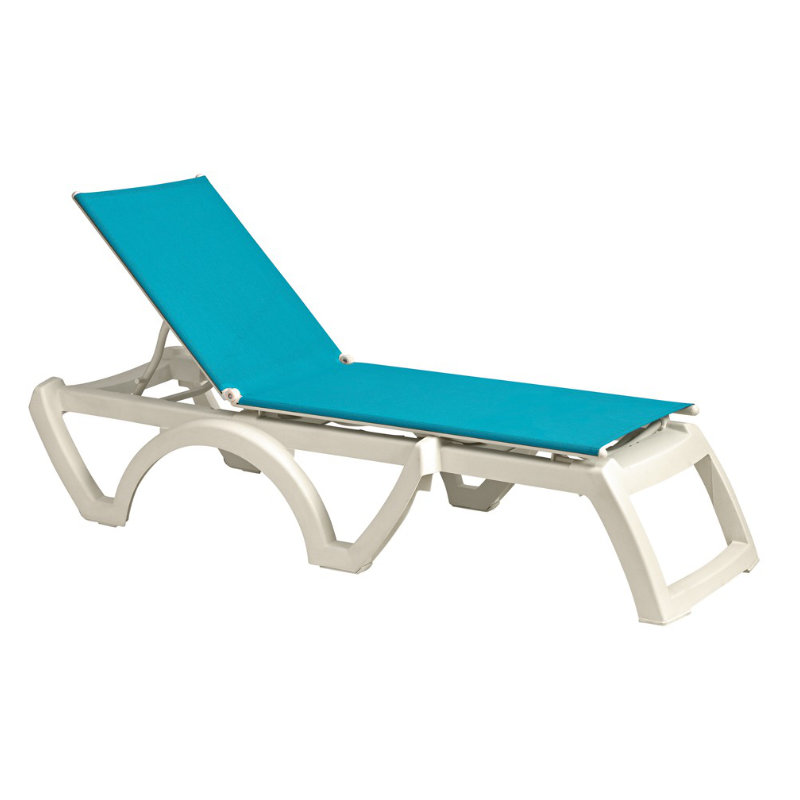 Grosfillex Calypso Resin Adjustable Sling Chaise Lounge