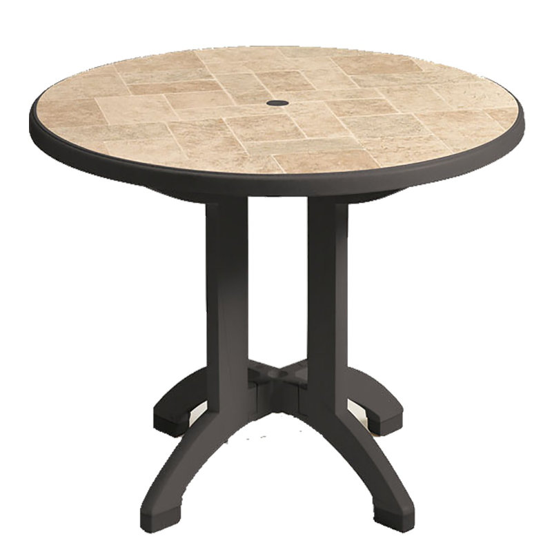 Siena 38 In Round Resin Folding Patio Dining Table ETampT