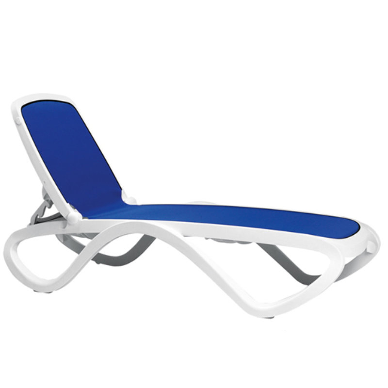 15 in seat omega resin stackable sling chaise lounge et for Blue sling chaise lounge