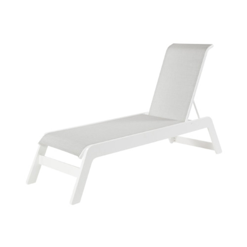 Malibu marine grade polymer sling chaise lounge et t for Blue sling chaise lounge