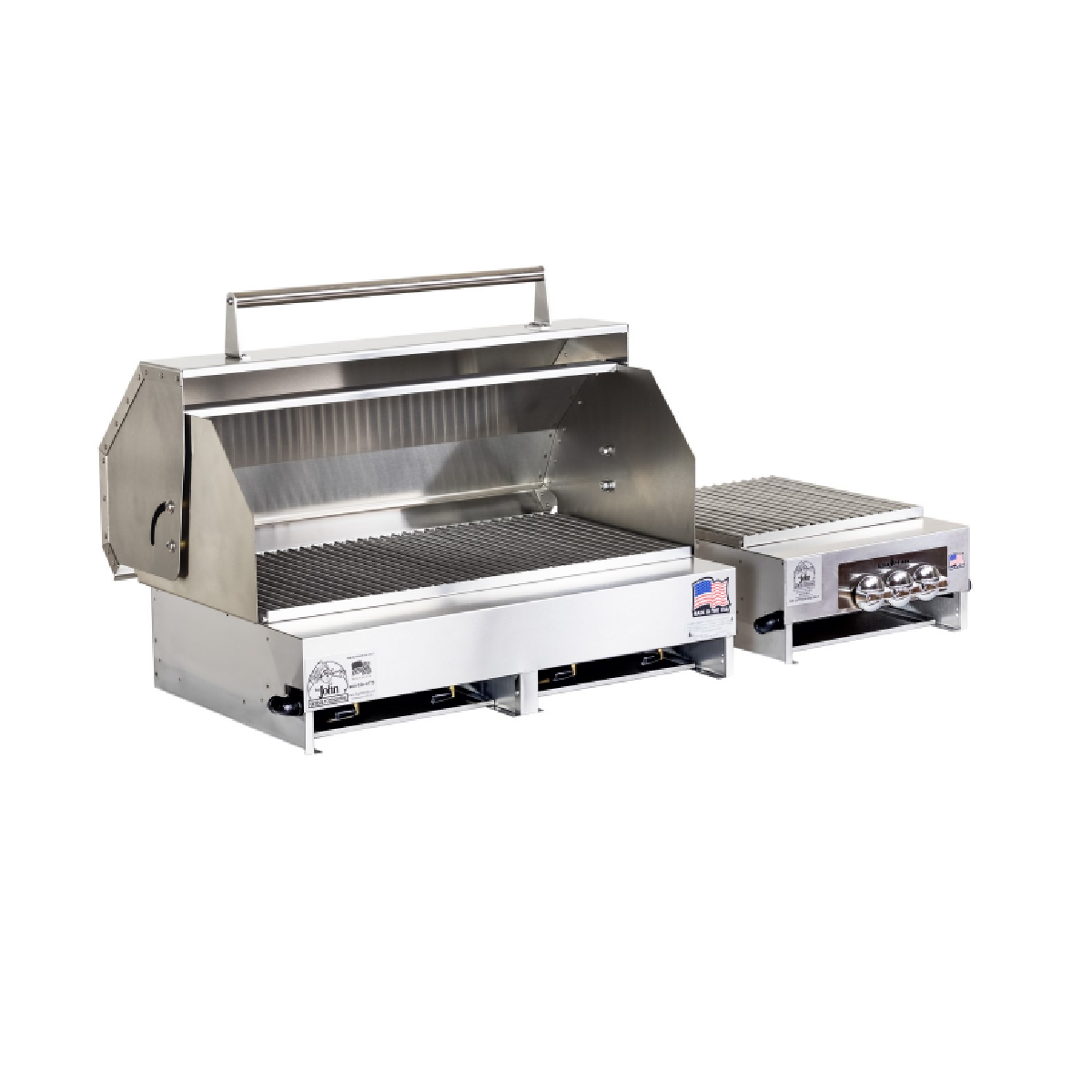"33"" Stainless Steel Grill with Hood at Side Burner"