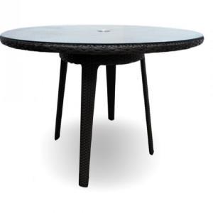 Kannoa Senna Wicker Large Round Glass Top Dining Table ETT - Large round glass top dining table