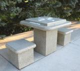 7102D - Doty Square Ped. Table w/ Dominoes Top Set w. 2 stools
