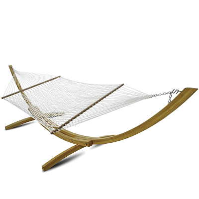 P-14-HS - Hatteras Deluxe White Polyester Rope Hammock