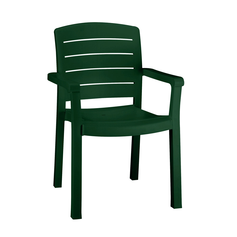 Acadia Classic Stacking Resin Patio Dining Chair W Arms