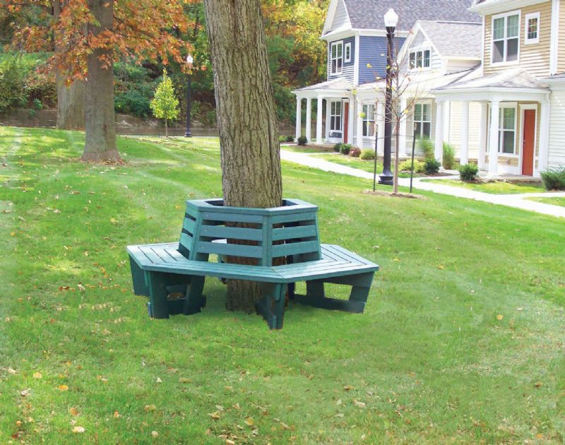 Recycled Plastic Lumber Tree Surround Bench Series Et Amp T