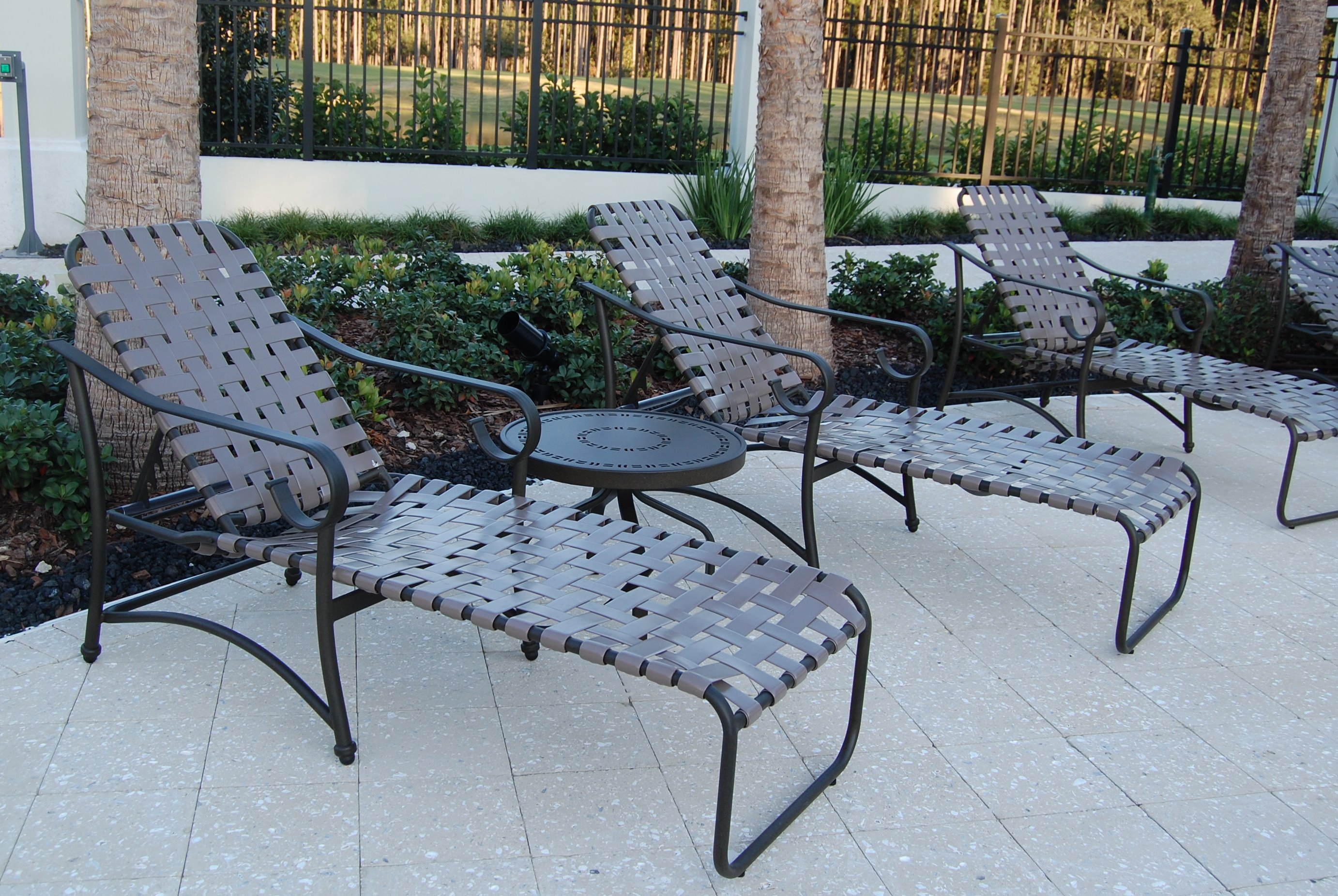 Plastic strap lounge chairs - West Wind Style Aluminum Vinyl Strap Chaise Lounge Chair W Arms