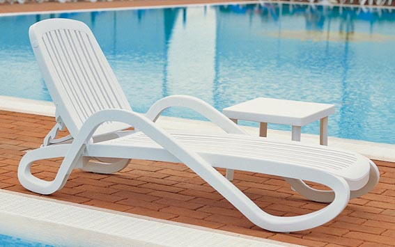 12 In Seat Eden Resin Patio Chaise Lounge Chair With Arms