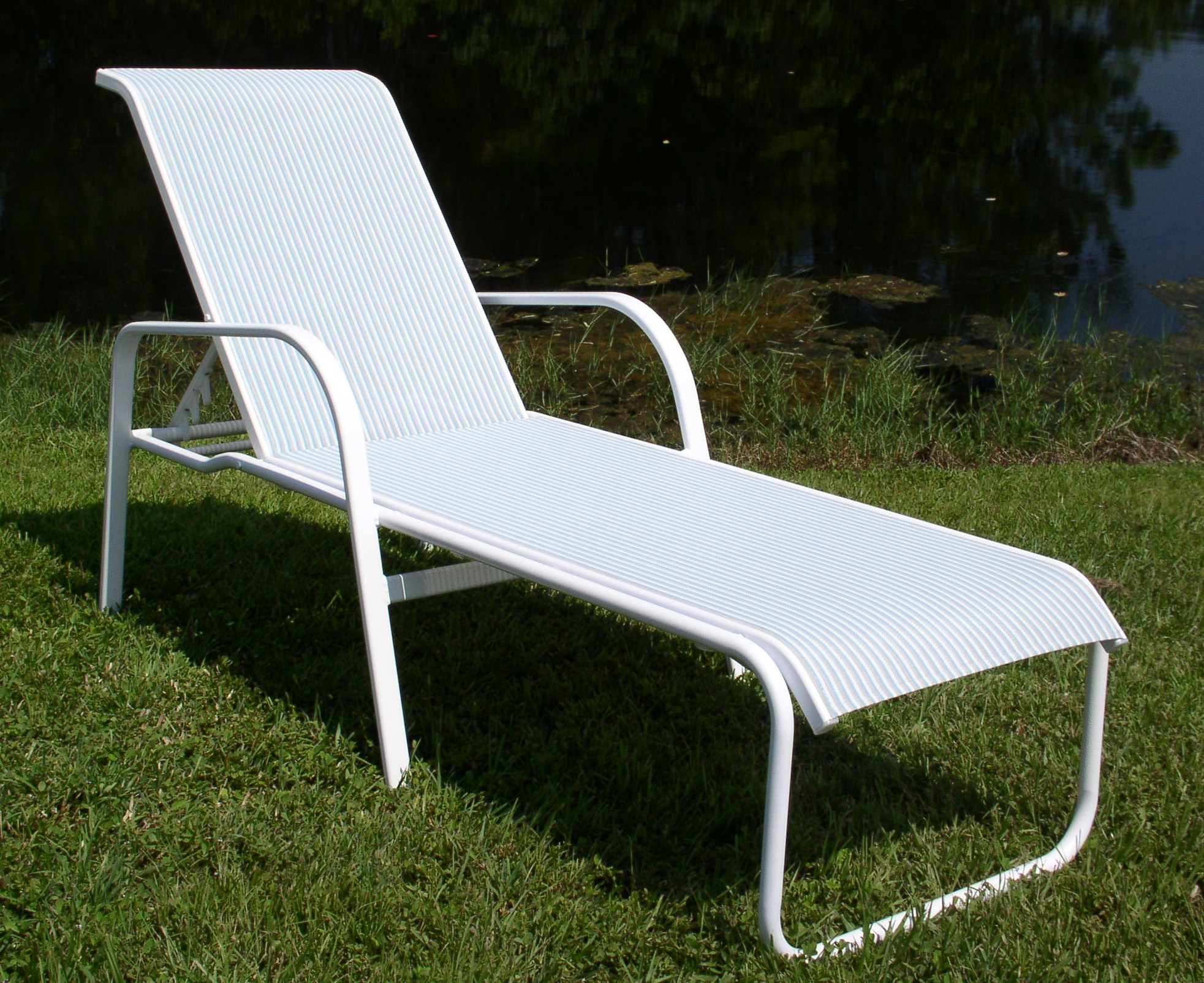 Marvelous Seat Ocean Breeze Aluminum Sling Chaise Lounge Chair W/ Arms  MOST  ECONOMICAL