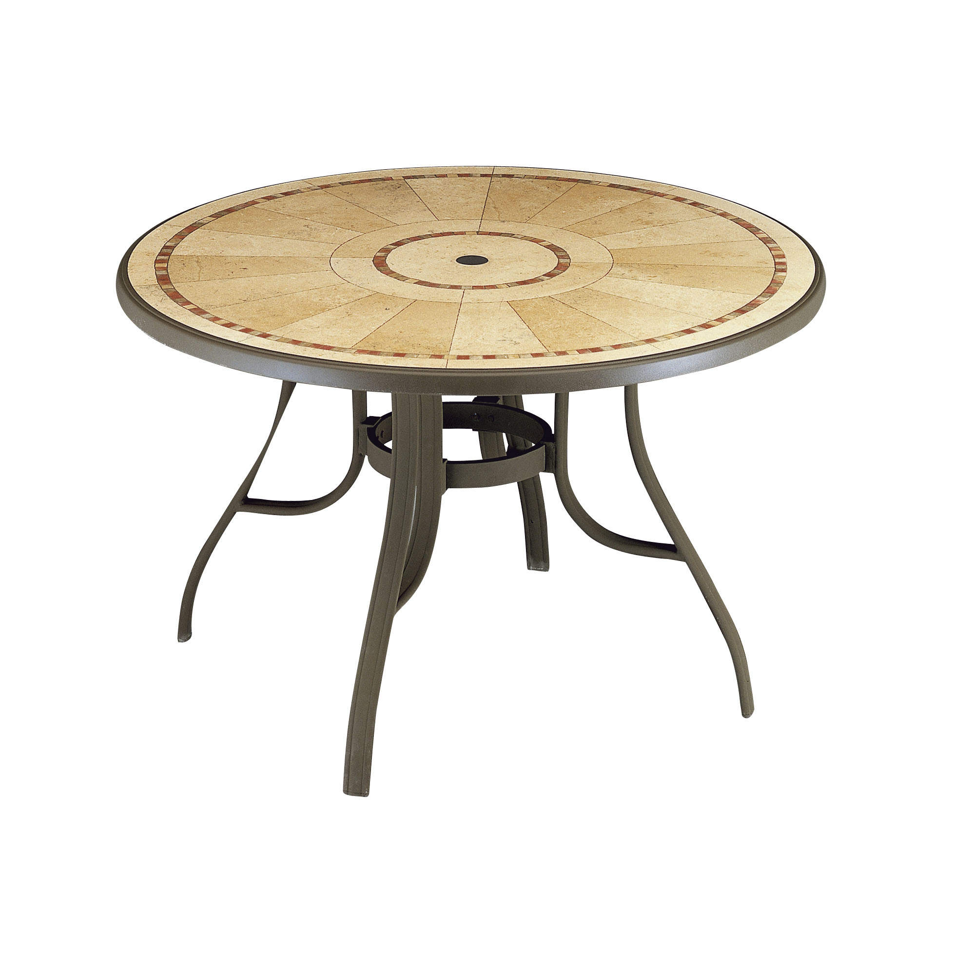 "Louisiana ""Pietra Decor"" 48 in Round Dining Table with Metal Legs"