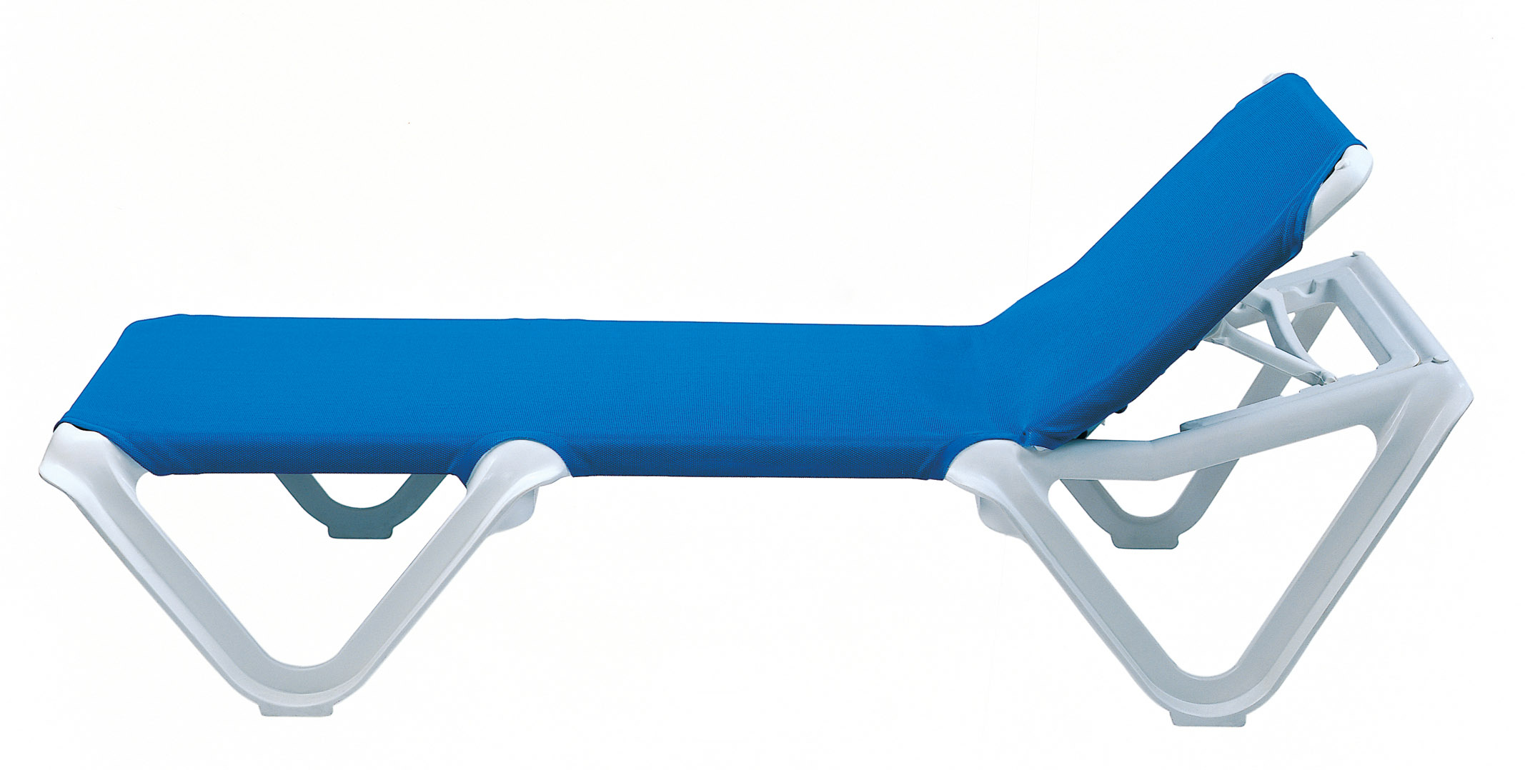 Grosfillex Nautical Adjustable Resin Sling Chaise Lounge