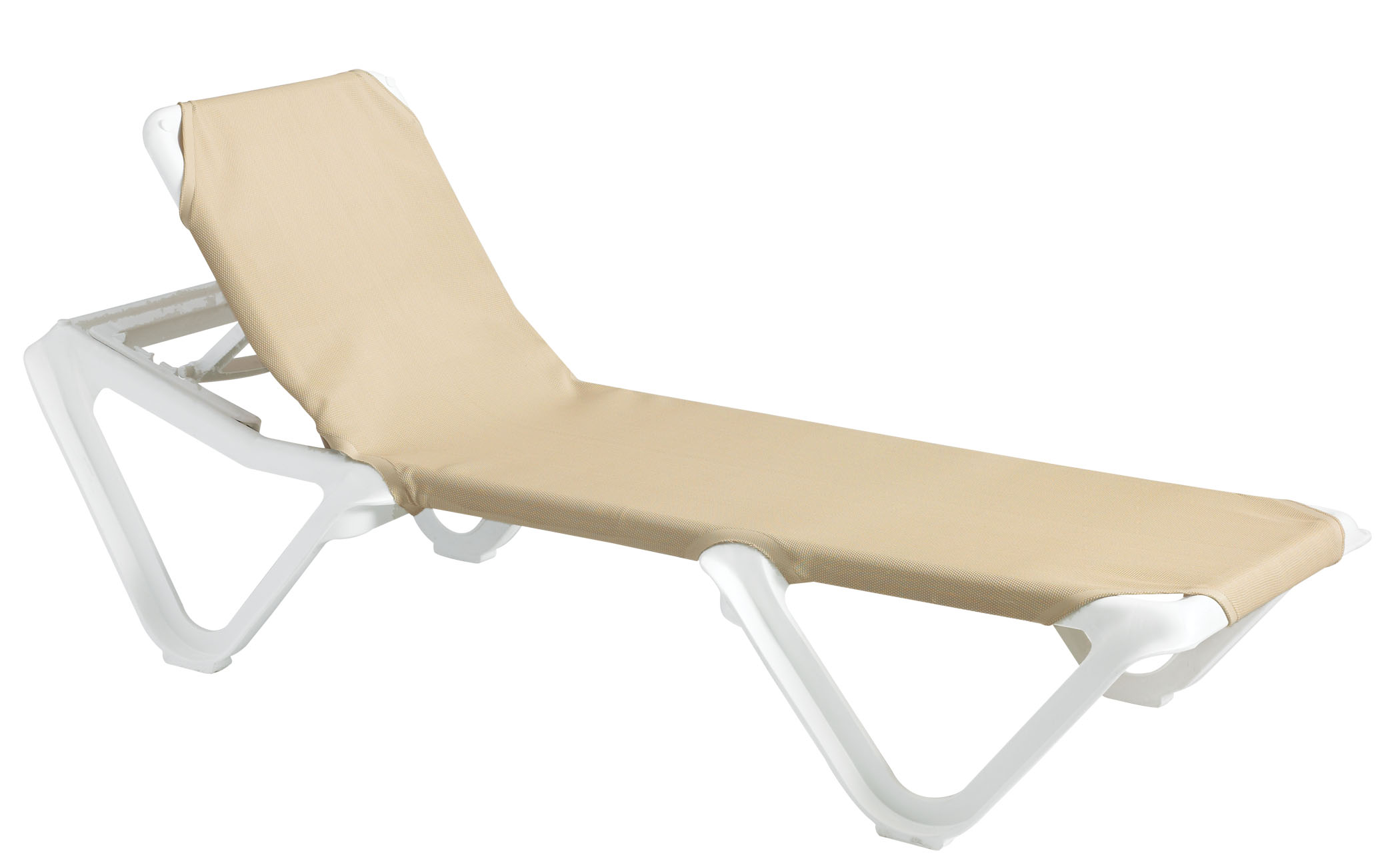 grosfillex nautical adjustable resin sling chaise lounge chair w o