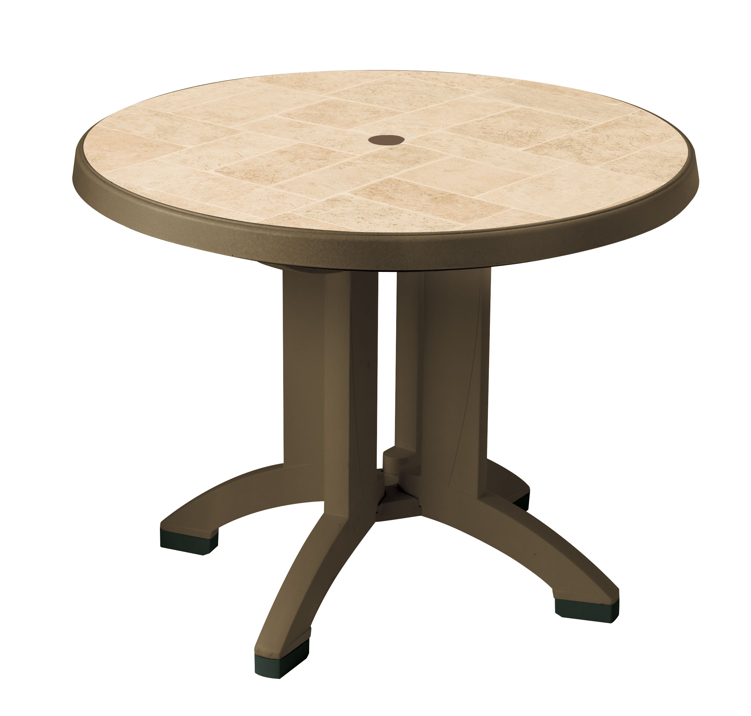 Siena 38 in Round Resin Folding Patio Dining Table