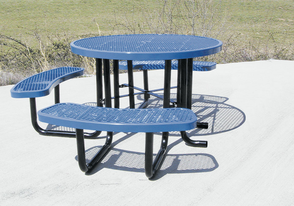 In Round Expanded Metal ADA Picnic Table ETT Distributors - 46 round expanded metal picnic table