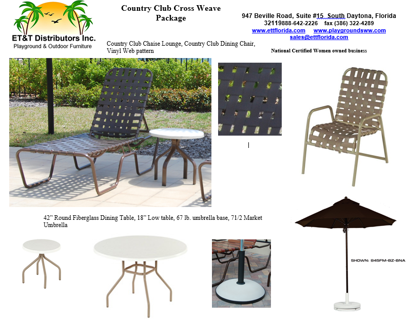 Country Club Cross Weave Vinyl Outdoor Furniture Package