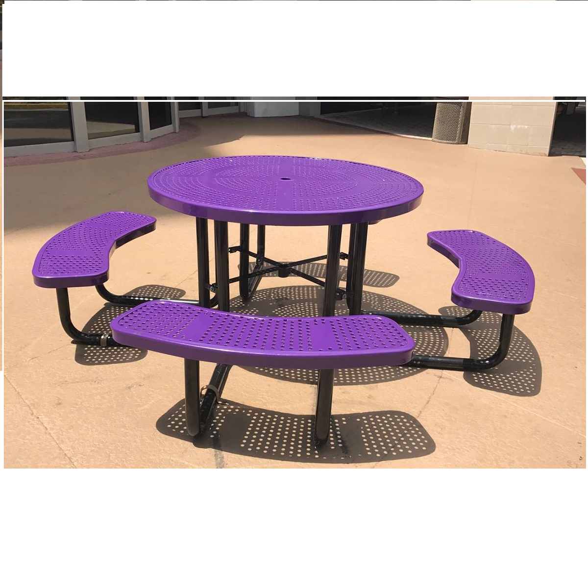 46 in round perforated style plastisol metal picnic table for Leisure craft picnic tables