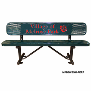 Personalized Multi-color Perforated Standard Bench Available in 6, 8, 10, and 15 Foot