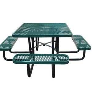 e- 46 in. Square Expanded Metal Picnic Table