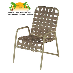 Country Club Crossweave Aluminum Vinyl Strap Patio Dining Chair W/  Arms MOST POPULAR