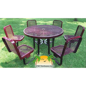 In Round Expanded Picnic Table With Attached Chairs ETT - 46 round expanded metal picnic table