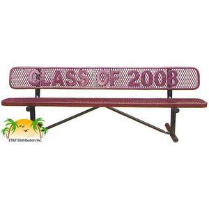 Standard Expanded Metal Personalized Steel Park Bench W Back Available In 4 Et T Distributors