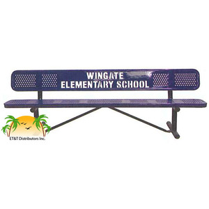 Standard Perforated Personalized Steel Park Bench w/ Back Available in 4,6,8,10, & 15 Foot
