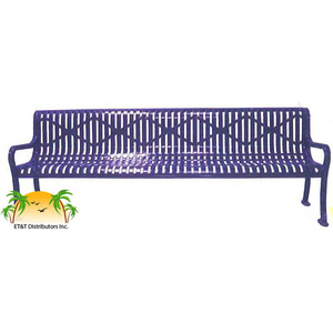 Decorative Diamond Steel Park Bench w/ Back