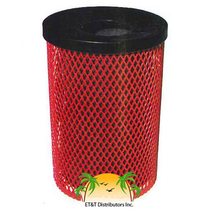 e- 32 Gallon Expanded Metal Style Steel Thermoplastic Finish Trash Receptacle