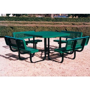 4st Regal Style Square Plastisol Metal Picnic Table