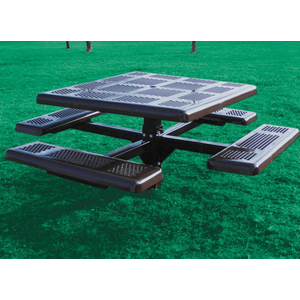 Square Perforated Style Plastisol Metal Picnic Table ETT Distributors - Square metal picnic table