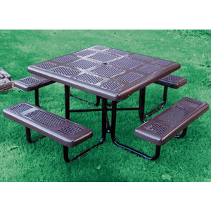 4st Perforated Style Plastisol Metal Picnic Table