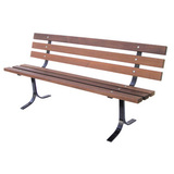 5000-6P-LC - Wooden Bench with Back - Pine or Mahogany