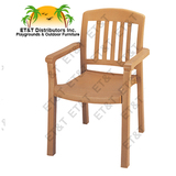 49442008 - Grosfillex Atlantic Classic Stacking Resin Patio Dining Chair w/ Arms