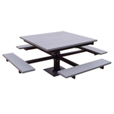 PB 4BF___SPIC - 4 Seat Square Recycled Plastic Pedestal Picnic Table