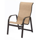 W3450HBBT - Cabo Sling High Back Aluminum Dining Arm Chair