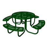 PBARK-358-RDP - 1 Paw and Bone Print 46 in. Round Expanded Metal Picnic Table
