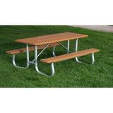 PB6GREGFPIC-JH - Galvanized Frame Recycled Plastic Picnic Table