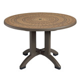 US715037 - Grosfillex Aquaba 48 in. Round Resin Pedestal Patio Dining Table