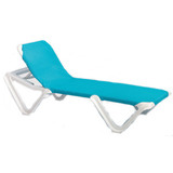 99101006 - Grosfillex Nautical Adjustable Resin Sling Chaise Lounge Chair w/o Arms