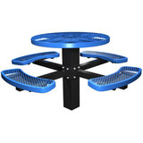 RO46P - 46 Inch Round Expanded Metal Single Post Metal Picnic Table