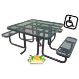 T46SQP-ADA - 46 in. x 58 in. Expanded Metal ADA Table w Seats