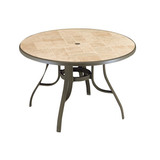 "US527137 - Grosfillex Louisiana ""Toscana Decor"" 48"" Round Table with Metal Legs"
