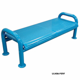 ULNB6-PERF-LC - U-Leg Perforated Style Steel Plastisol Park Bench w/o Back Available in 4, 5 and 6 Foot