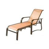 W0810 - 17 in. Seat Harborage Aluminum Sling Patio Chaise Lounge Chair w/ Arms