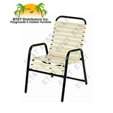 W1750 - Neptune Style Aluminum Vinyl Strap Patio Dining Chair w/ Arms
