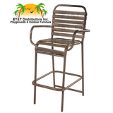 W0375A - Country Club Aluminum Vinyl Strap Bar Chair w/ Arms